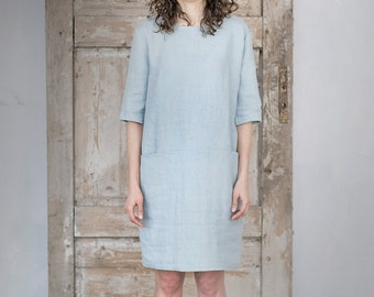 Washed Linen Dress | Women Dress | Tunica Dress | Dress With Pockets | Minimal Dress | Elegant Dress | Soft Linen | Baltic Linen