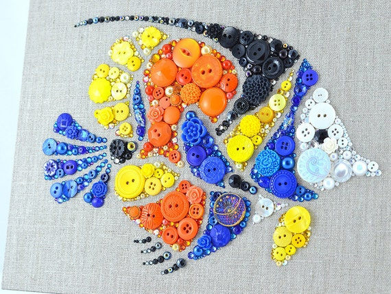 Tropical Fish Button Art 9x12 Wall Hanging By