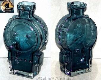 Vintage retro Riihimaki / Riihimaen Lasi Oy by Helena Tynell 'Ahkeraliisa' #1309 Modernist Blue Art Glass Vase with Label c1968 (ref: 3141)