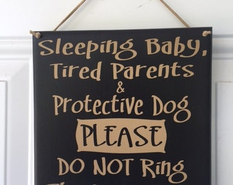 Sleeping baby tired parents protective dog please don't ring the doorbell sign