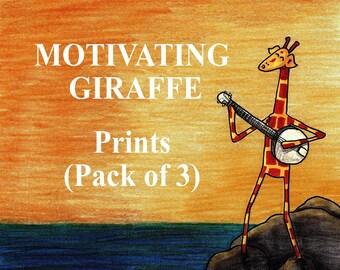 Motivating Giraffe Prints - Pack of 3
