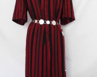 SALE: Vintage Shirtwaist Dress Red & Black Striped