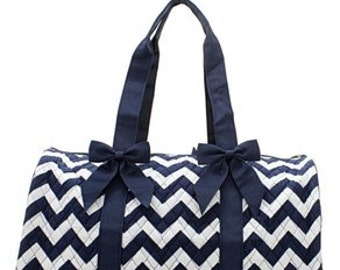 Chevron Print Monogrammed Duffle Bag Navy Blue and White