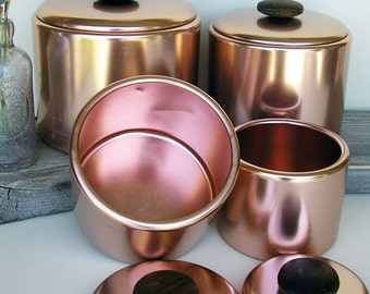 MIRRO Copper Aluminum Canisters ~ Flour Sugar Coffee Tea, Room Staging ~ Movie Prop ~ Photography Prop  #619