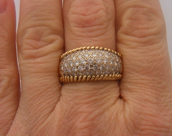 1.50 C.T.W. Round Cut Diamond Cluster Ring Yellow Gold 14K