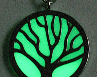 CLEARANCE.  Glow in the Dark!  -  Tree of Life - Green glow pendant