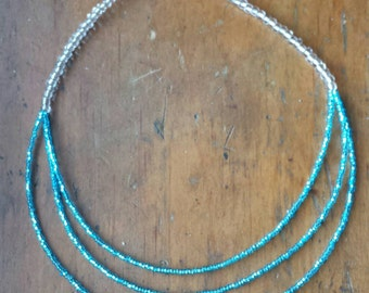 Electric blue, multistrand,  beaded, tiered, necklace