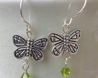 Butterfly & Crystal Dangle Earrings