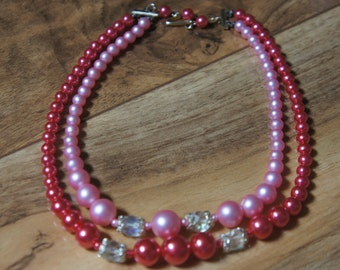 Vintage  Jewelry  2 Strand  Vintage 2 Strand 1950s madmen Pretty in Pink Necklace  Signed Japan X-032