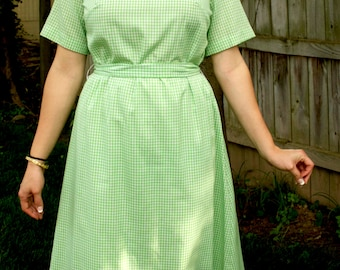 Vintage Dress, Green Gingham