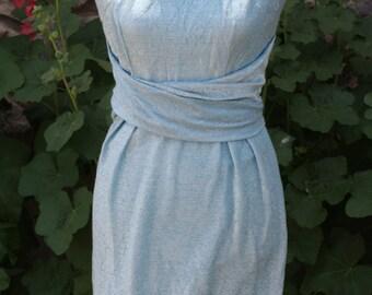 Vintage Dress Blue Lame Wiggle Dress Belted