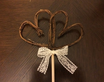 Rustic Cake Topper: Double Heart Grapevine Wedding Cake Topper or decoration