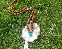 Mala Bead Necklace with Rudraksha and Tibetan Turquoise - Yoga Mala Bead Necklace - Mala Beads - Meditation Necklace