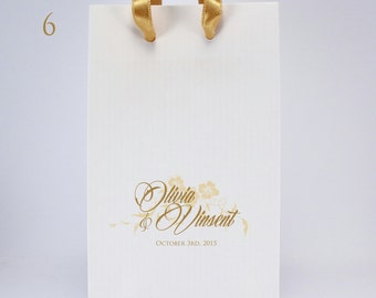 100 White Favor Bags with Handles - Personalized SMALL Paper Gift Bags with Couple's Names and Wedding Date - Wedding Favor Bags