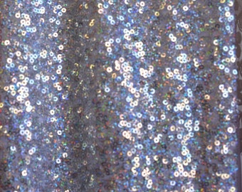 New! 1 Yard Full Embroider Shiny Sequin Pine Silver Fabric Material