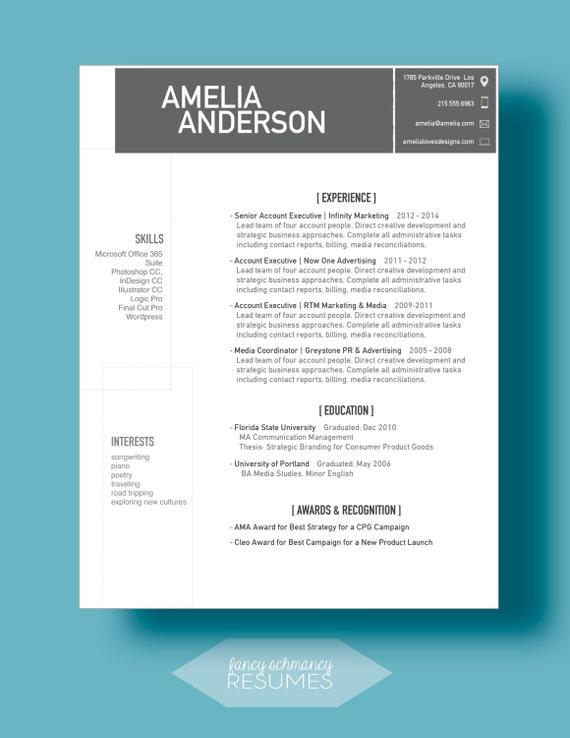 grey box resume cover letter template word doc