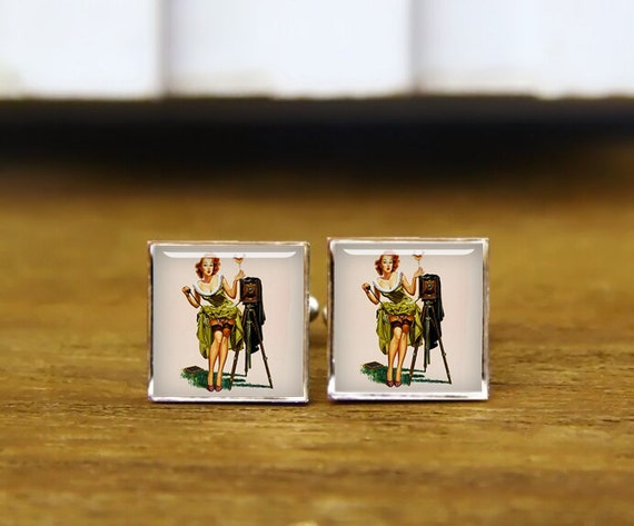 poster pinup girl cuff links, vintage camera pinup girl, custom pin-up, custom wedding cufflinks, round, square cufflinks, tie clips, or set