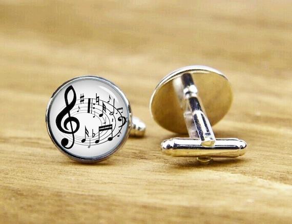 black musical notes cufflinks, musical notes, personalized cufflinks, custom wedding cufflinks, round, square cufflinks, vintage cufflinks