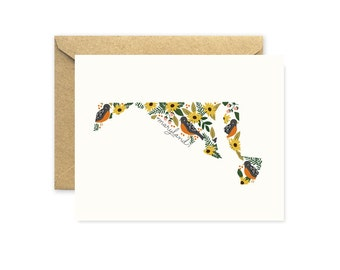 Maryland State Greeting Card with State Flower and State Bird, Baltimore Oriole and Black-Eyed Susan