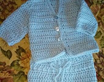 Newborn boy blue baby layette set.  Hooded layette set. 0-3 months infant layette set. Crochet baby layette set in blue