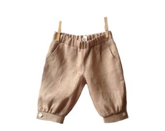 Boys linen shorts beige, knocher style pants, toddler linen shorts natural, linen knicker shorts, baby boy shorts pants