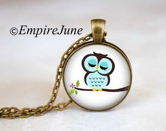 ON SALE Owl Necklace Cartoon Owl Pendant Night Owl Jewelry Cute Owl Necklace Blue Owl on Branch Jewelry Night Owl Pendant Cartoon Jewelry Ow