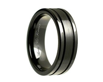 8mm personalized black ceramic rings weddings handmade engagement wedding band ceramic bands - Ceramic Wedding Rings