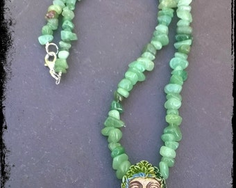 Aventurine & ceramic Green Man earthy pagan, witch, Wiccan, Druid, nature, woodland necklace.