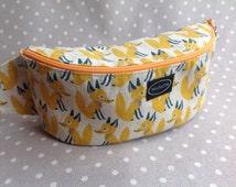 Yellow fanny pack fox hip bag small waist bag cute belt pouch japanese linen fabric hip pouch animal hip pack zippered belt bag festival bag