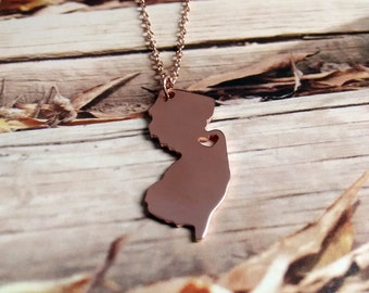Rose Gold New Jersey State Necklace,NJ State Necklace,NJ State Charm Necklace,State Shaped Necklace With A Heart-%100 Handmade