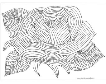 Rose Coloring Sheet For Adults And Kids Page