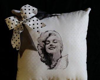 Embroidered Marilyn Monroe pillow
