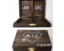 Rustic Personalized Wedding Ring Box - Mr. And Mrs.