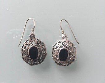 Vintage Black Onyx Sterling Silver Drop Earrings