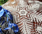 Crochet doily, ecru, large lace doilie