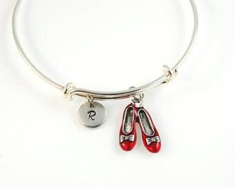 Charm Bangle, wizard of oz charm, Ruby Red Slipper bangle, Expandable bangle, Personalized bracelet, Monogram, stamped bracelet