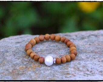 Fresh Water Pearl & Rhinestone Rondelle Sandalwood Stretch Bracelet, BOHO Beach Bridal Bracelet, Mothers Day Gift, Zen Meditation Jewelry
