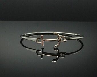 Cute Nautical Anchor Silver Bangle Bracelet, Silver-Tone Bangle Bracelet, Thank You Gift, Birthday Gift, Graduations Gift