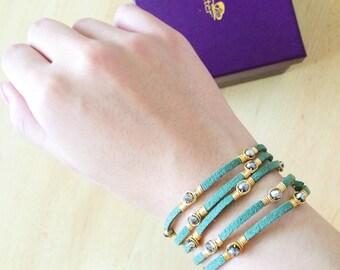 FLUTTER Designer Boho Green Suede Wraparound Bracelet, Sage Green LIBERTY WRAP, multi-wearable suede bracelet and suede anklet wrap