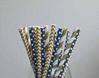 NAVY & GOLD Paper Straws // Graduation // Birthday