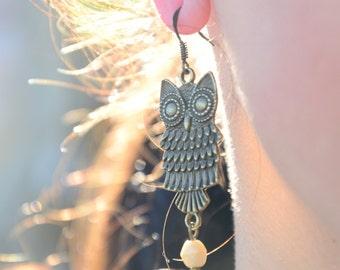 Owl earrings, owl jewelry,  bronze owl earrings, animal earrings, cute hippie owl earrings, unique hippie owl earrings