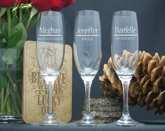 Personalized Champagne Glasses / Engraved Wedding Party Flutes / Bridesmaids : Groomsmen Gifts / 16 DESIGNS / Select ANY Quantity