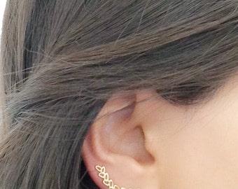 Ear Cuff , Gold Ear Cuff , Climbing Earrings, Geometric Ear Pin , Gold Ear Pin , Ear Climber , Leaf shape Earrings , Climber Earring
