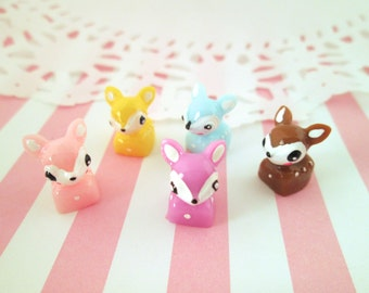 Multicolor Kawaii Deer Cabochons, Sweet Animal Cabs, #379a