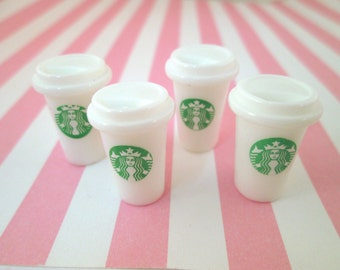 Miniature White Starbucks Coffee Cup Cabochons