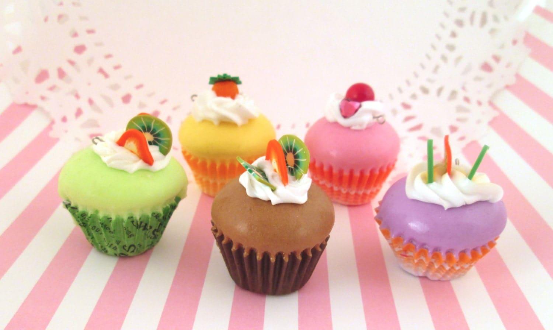 Squishy Cupcake : Squishy Kawaii Cupcake Pendant Charm Pick by HappyKawaiiSupplies