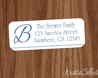 Return Address Labels Stickers - Custom Personalized Monogrammed Family Return Address Labels - Family Initial