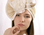 Elegant Wedding headband, Cream fascinator headpiece, Ivory hat headpiece, Kentucky derby hat, Bridal headpiece, Haute Couture headband
