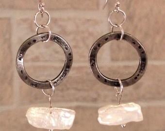 Freshwater pearl sterling silver dangle earrings