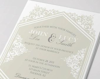 Classic wedding invitation and rsvp elegant wedding invitation template elegant printable wedding invitation design, white wedding champagne